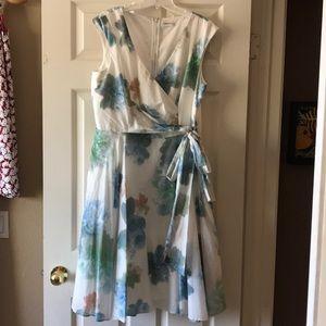 Wrap-look Calvin Klein sleeveless crinoline dress